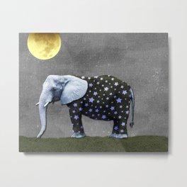 Elephant Under the Moon Metal Print