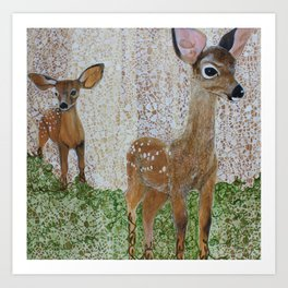 The Disappearing Landscape: fawns Art Print