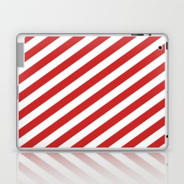 Red and White Candy Cane Stripes, Thick Angled Lines Festive Christmas Laptop & iPad Skin