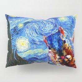 Starry Night Squirrel Photo Bomb Pop Art Pillow Sham