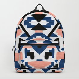 Geometric Aztec - coral and lapis Backpack