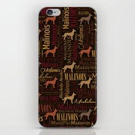 Belgian Malinois Dog Word Art pattern iPhone Skin