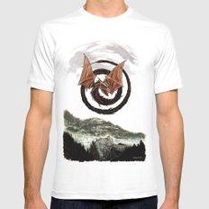 Spiral Dragon over Poenari Castle Mens Fitted Tee White MEDIUM