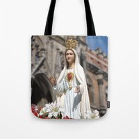 madonna Tote Bags featuring Madonna by Frau Fruechtnicht
