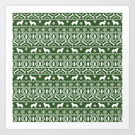 Bernese Mountain Dog fair isle christmas green and white pattern holiday dog breed gifts Art Print