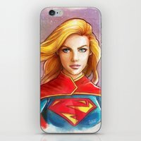 supergirl iPhone & iPod Skins featuring Supergirl by fabvalle