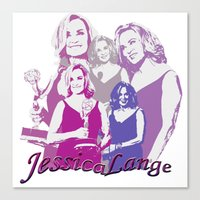 jessica lange Canvas Prints featuring Jessica Lange - Emmys 2014 by BeeJL