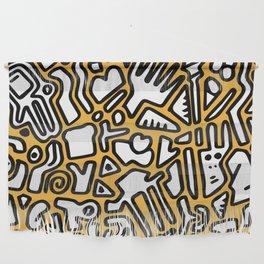 black doodle on orange Wall Hanging