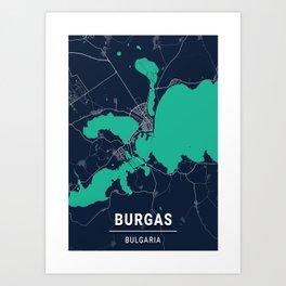 Burgas Blue Dark Color City Map Art Print