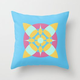 Flower Circles on Soft Blue Color Throw Pillow