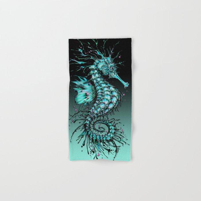 Cyan Seahorse Hand & Bath Towel