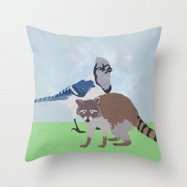 Mordecai and Rigby Throw Pillow