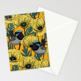 Fairy wren and poppies in yellow Stationery Cards