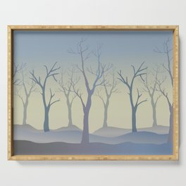 Silhouettes of Trees. Bad Weather Day Serving Tray