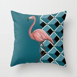 Flamingo Teal Throw Pillow