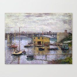 Claude Monet Bridge at Argenteuil on a Gray Day Canvas Print