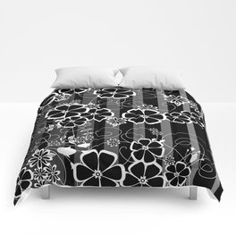 Abstract white and black flowers with background Comforters