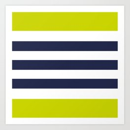 Modern Classy Navy Blue Lime Green STRIPES Kunstdrucke