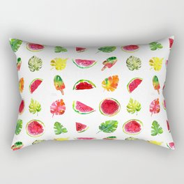 Cute colorful watercolor with watermelon, popsicles and palm leaves Rectangular Pillow