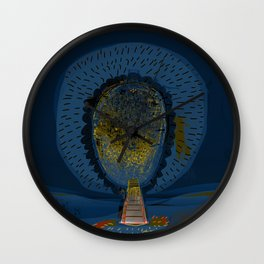 Tree Cactus in a Blue Desert Wall Clock