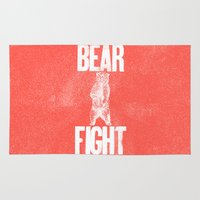 fight Area & Throw Rugs featuring Bear Fight by John Choura Jr.
