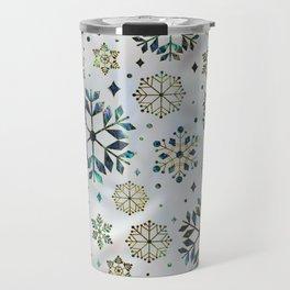 Festive Golden Abalone Shell Snowflake pattern Travel Mug