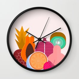 Mix of Ripe Tropical Fruits Wall Clock