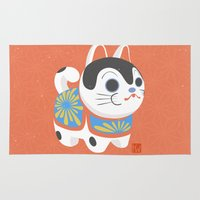 shiba inu Area & Throw Rugs featuring Inu Hariko by Project Aika
