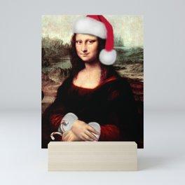 Mona Lisa Wearing a Santa Hat Mini Art Print