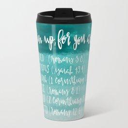 chin up (teal) Travel Mug