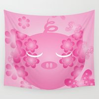 pig Wall Tapestries featuring Pink Pig by ArigigiPixel