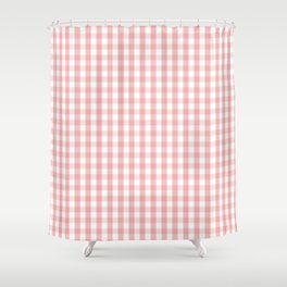 Large Lush Blush Pink and White Gingham Check Shower Curtain