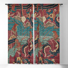 Flowery Arabic Rug I // 17th Century Colorful Plum Red Light Teal Sapphire Navy Blue Ornate Pattern Blackout Curtain