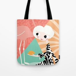Girl with flamingo and Henri Matisse inspired decoration, vector illustration, geometric Tote Bag
