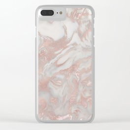 French polished rose gold marble Clear iPhone Case