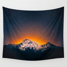 Glowing Snow Mountains Magical Star Night Sky Shooting Star Landscape Wall Tapestry