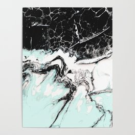mint black and white marble Poster