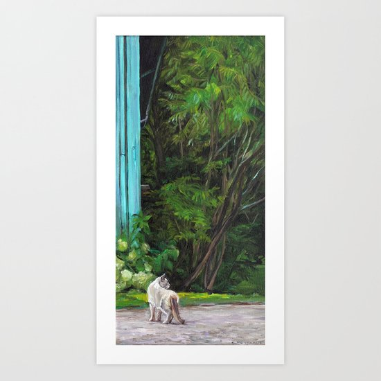 What the Cat Sees By the Hot Glass Studio Hydrangea Art Print