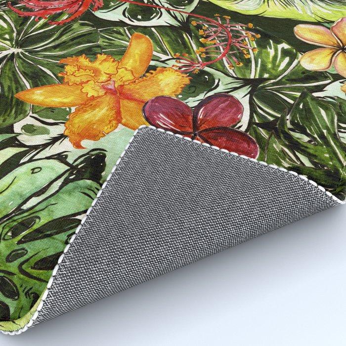 Tropical Vintage Exotic Jungle Flower Flowers - Floral watercolor pattern Rug