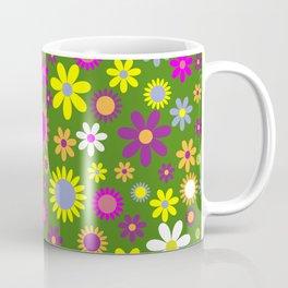 Multicolored Flower Garden Pattern Coffee Mug