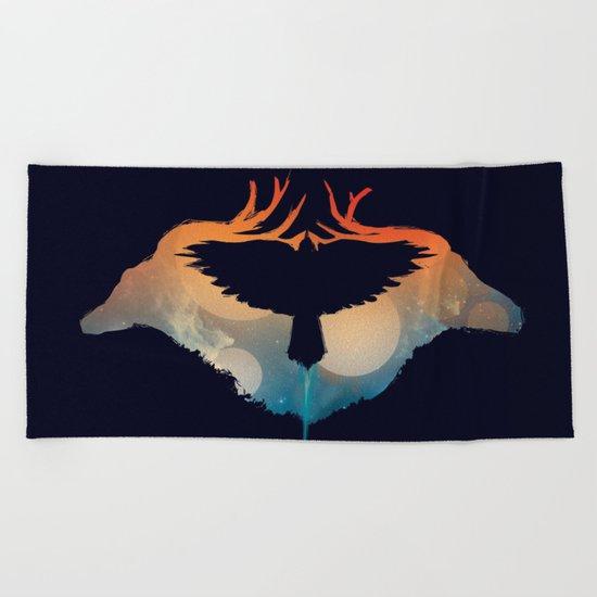 Night sky over savanna Beach Towel