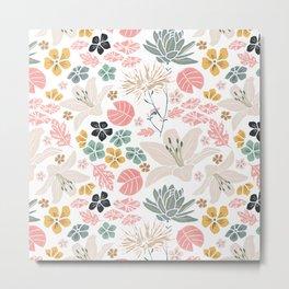 Dusky Japanese pond florals Metal Print