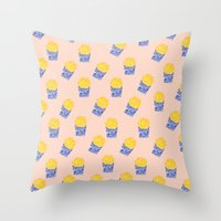 fries Throw Pillows featuring Floral Fries by Bouffants and Broken Hearts