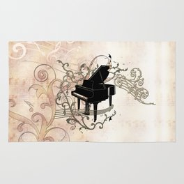 Music, piano with key notes and clef Rug