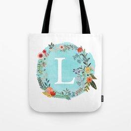Personalized Monogram Initial Letter L Blue Watercolor Flower Wreath Artwork Tote Bag