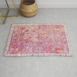 N45 - Pink Vintage Traditional Moroccan Boho & Farmhouse Style Artwork. Rug