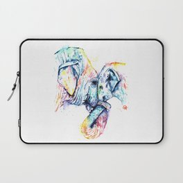 Elephant Mom and Baby Painting - Colorful Watercolor Painting by Whitehouse Art Laptop Sleeve
