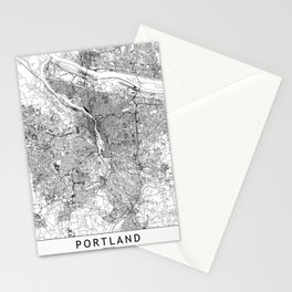 Portland White Map Stationery Cards