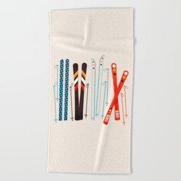 Retro Ski Illustration Beach Towel