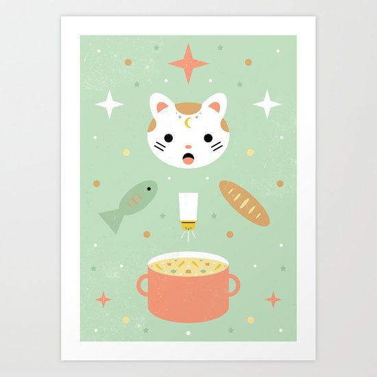 Star Kitten's Lunch  Art Print